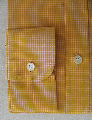 Vintage 1970s VIYELLA check shirt UNUSED for button or cuff links Collar 15 1/2""